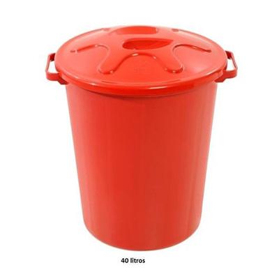 Cesto de lixo plástico com tampa capacidade 40 litros unidade JSN  UN