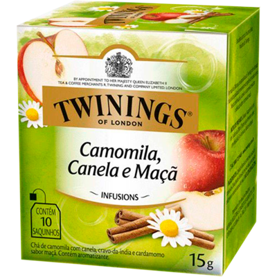 Chá de camomila, canela e maçã 10 envelopes Twinings caixa CX