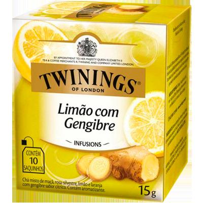 Chá de limão e gengibre 10 envelopes Twinings caixa CX