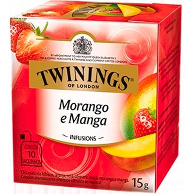 Chá de morango e manga 10 envelopes Twinings caixa CX