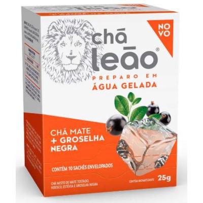 Chá Gelado de groselha negra caixa 10 envelopes Leão CX
