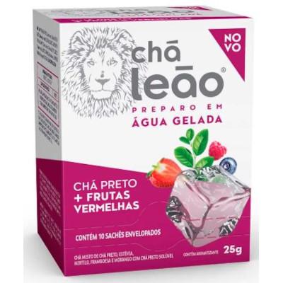 Chá Gelado preto com frutas vermelhas caixa 10 envelopes Leão CX