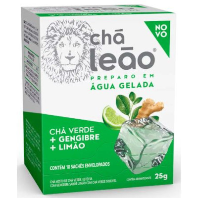 Chá Gelado Verde com Gengibre e Limão 25g (10 sachês) Leão caixa UN