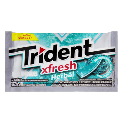 Chiclete sabor herbal fresh 21 unidades Trident caixa CX