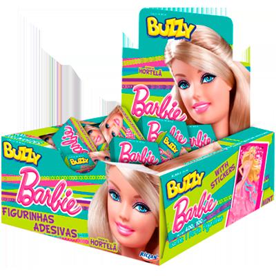 Chiclete sabor hortelã Barbie 100 unidades Buzzy caixa CX
