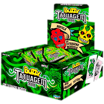 Chiclete sabor hortelã Gang Tatuagem 100 unidades Buzzy caixa CX