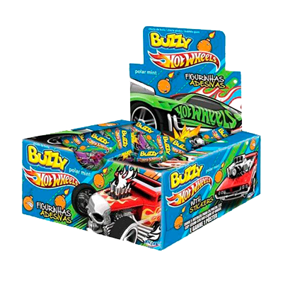 Chiclete sabor menta Hot Wheels 100 unidades Buzzy caixa CX