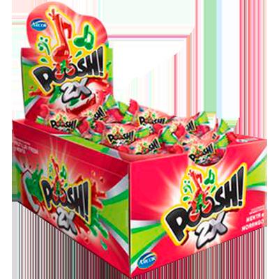 Chiclete sabor morango e menta 40 unidades Arcor Poosh caixa CX