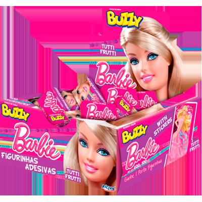 Chiclete sabor tutti frutti Barbie (100 unidades) Buzzy caixa CX