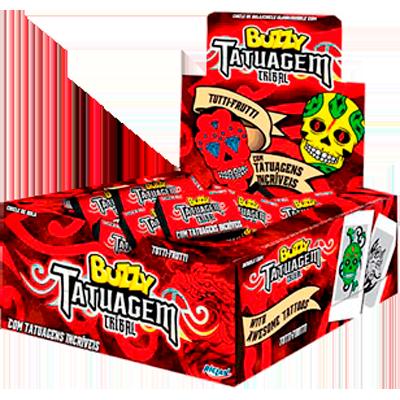 Chiclete sabor tutti frutti Gang Tatuagem 100 unidades Buzzy caixa CX