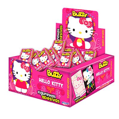 Chiclete sabor tutti frutti Hello Kitty 100 unidades Buzzy caixa CX