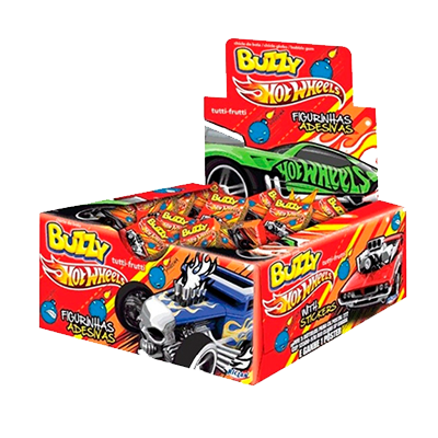 Chiclete sabor tutti frutti Hot Wheels 100 unidades Buzzy caixa CX