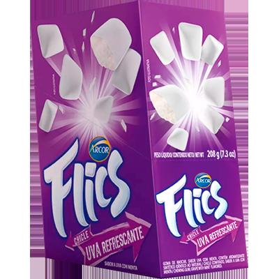 Chiclete sabor uva 12 unidades Flics caixa CX