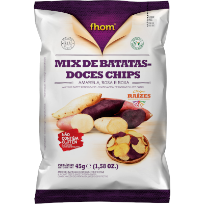 Chips de batata doce (amarela, rosa e roxa) 45g Fhom pacote UN