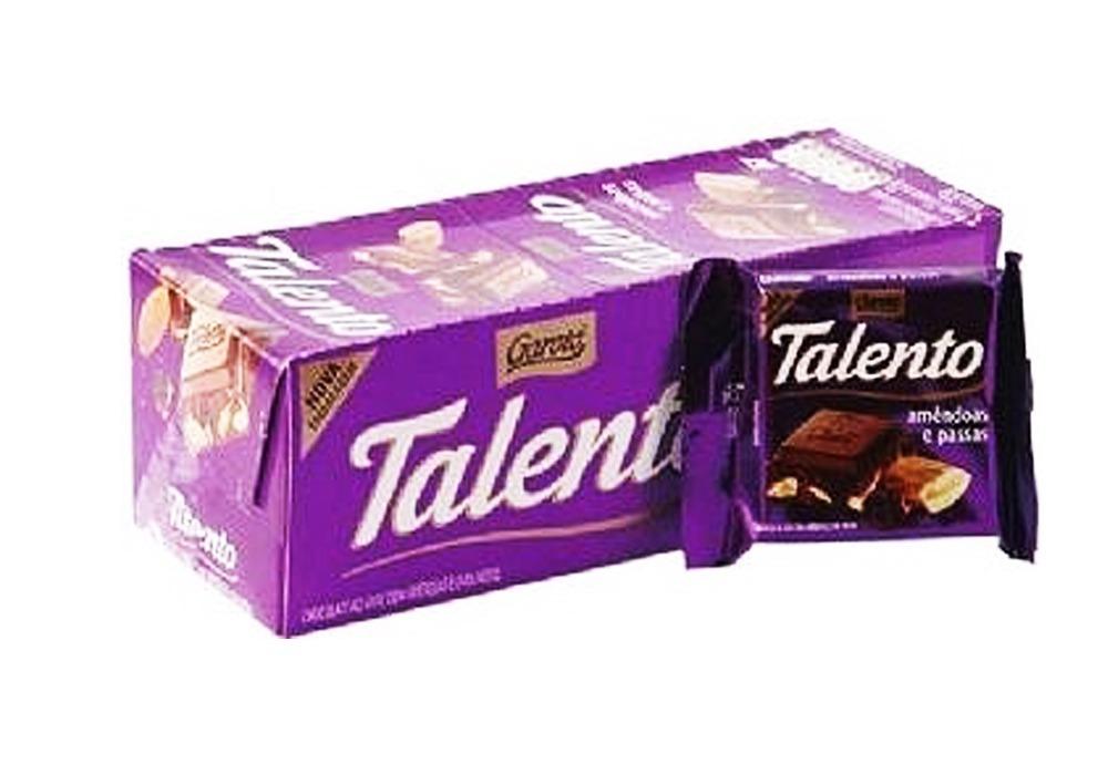 Chocolate amêndoas e passas 15 unidades de 25g Garoto/Talento caixa CX
