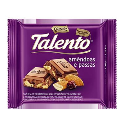 Chocolate com amêndoas e uvas passas 100g Garoto/Talento  UN
