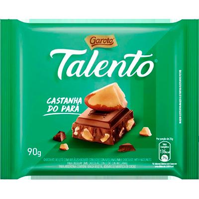 Chocolate com castanha do pará 90g Garoto/Talento  UN