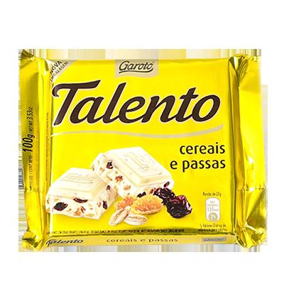 Chocolate com cereais e passas 100g Garoto/Talento UN