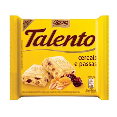 Chocolate com cereais e passas 15 unidades de 25g Garoto/Talento caixa CX