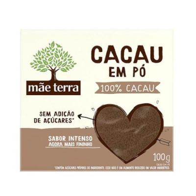 Chocolate em pó 100% cacau sem açucar 100g Mãe Terra pacote PCT