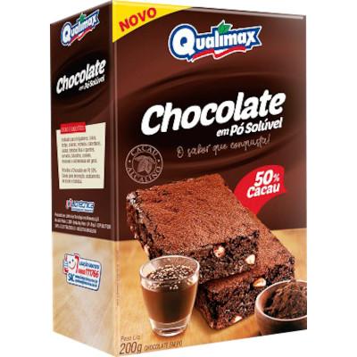 Chocolate em pó 50% cacau 200g Qualimax pacote PCT