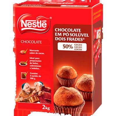 Chocolate em pó 50% cacau 2kg Nestlé pacote PCT