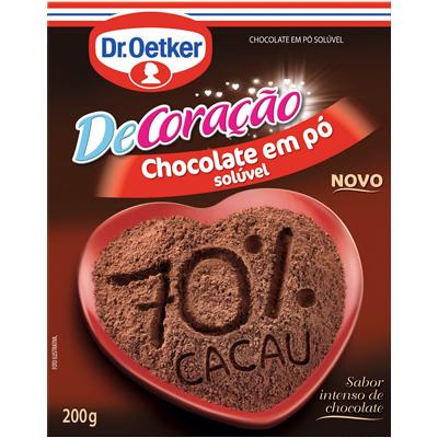 Chocolate em pó 70% cacau pacote 200g Dr. Oetker PCT