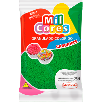 Chocolate Granulado Crocante Verde 500g Mavalerio pacote PCT