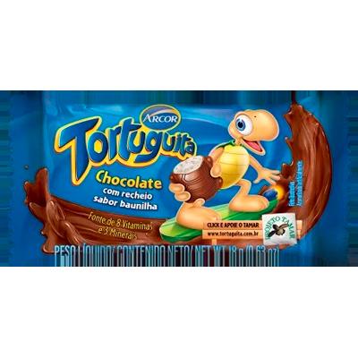 Chocolate recheio baunilha 24 unidades de 18g Tortuguita caixa CX