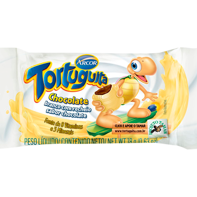 Chocolate recheio branco 24 unidades Tortuguita caixa UN