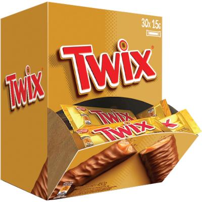 Chocolate recheio caramelo caixa 30 unidades de 15g Twix CX