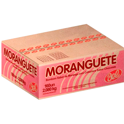 Chocolate recheio de morango 160 unidades de 13g Moranguete caixa CX