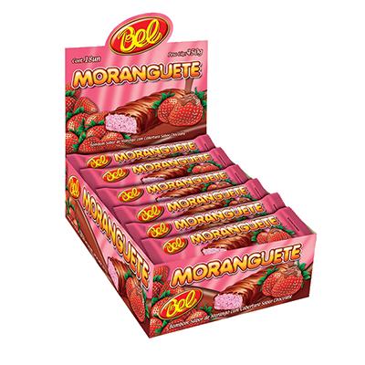 Chocolate recheio de morango 18 unidades de 25g Moranguete caixa CX