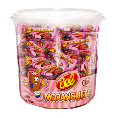 Chocolate recheio de morango 50 unidades de 9g Moranguete pote POTE