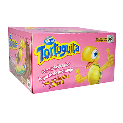 Chocolate recheio iogurte morango 24 unidades Tortuguita caixa CX