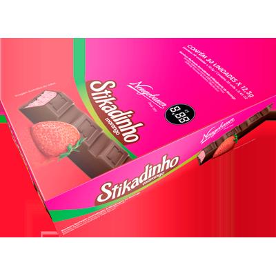 Chocolate recheio morango 30 unidades Stikadinho caixa UN