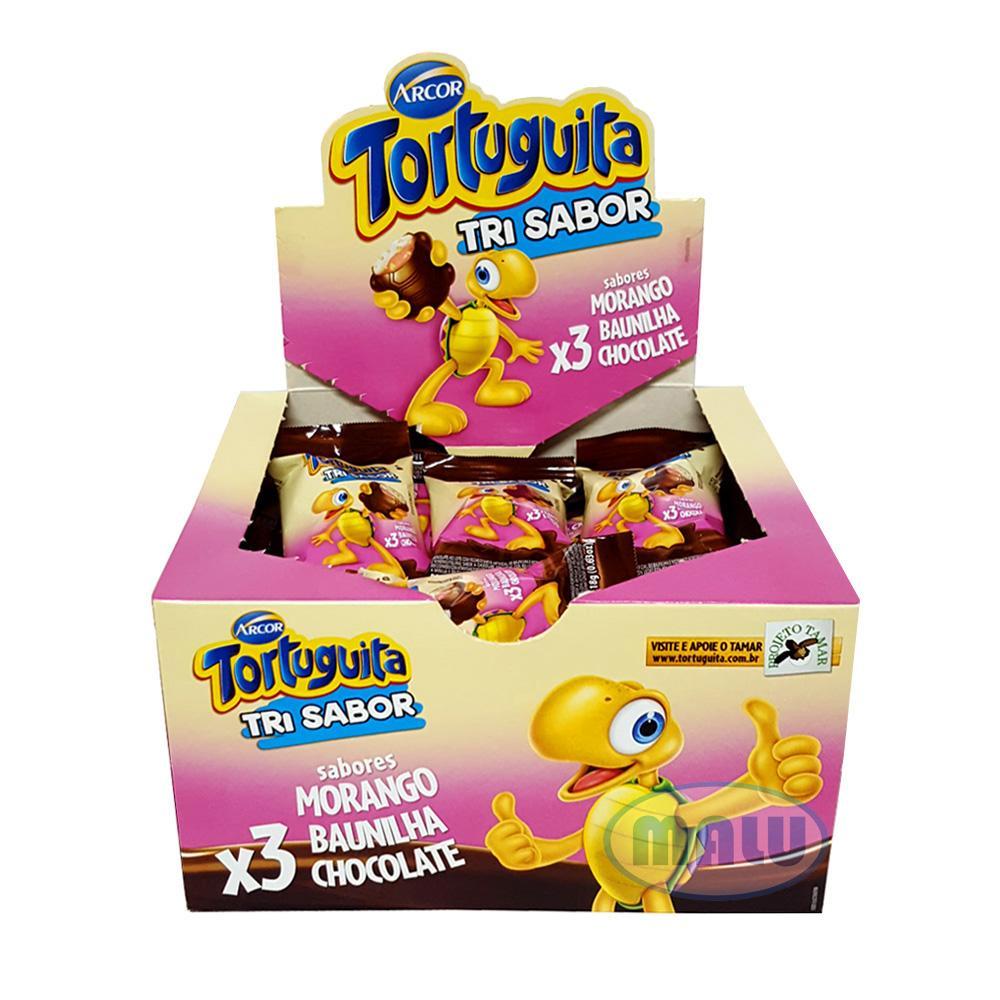 Chocolate recheio napolitano 24 unidades Tortuguita caixa UN