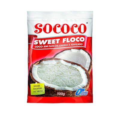 Coco ralado em flocos adoçado 100g Sococo/Sweet Coco pacote PCT