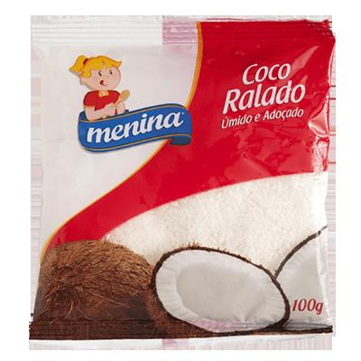 Coco ralado úmido e adoçado pacote 100g Menina PCT