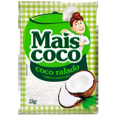 Coco ralado úmido e adoçado 1kg Mais Coco pacote PCT
