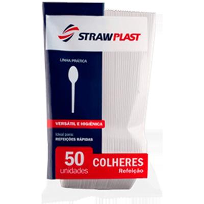Colher descartável refeição cristal pacote 50 unidades Strawplast PCT