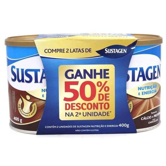 Complemento Alimentar sabor chocolate embalagem promocional 02 latas de 380g Sustagen pacote PCT
