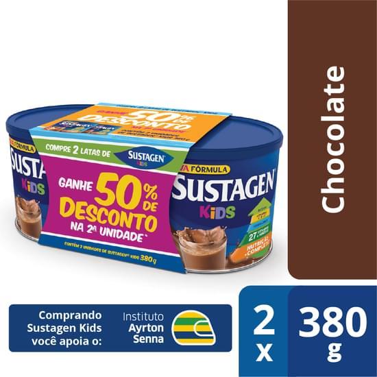 Complemento Alimentar sabor chocolate embalagem promocional 02 latas de 380g Sustagen/Kids pacote PCT