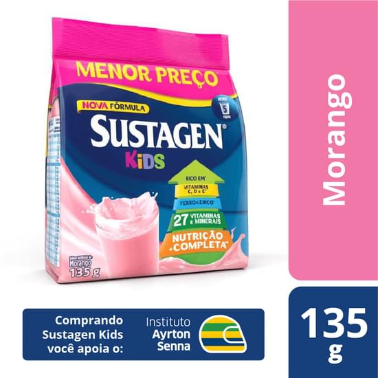 Complemento Alimentar sabor morango 135g Sustagen/Kids pacote PCT