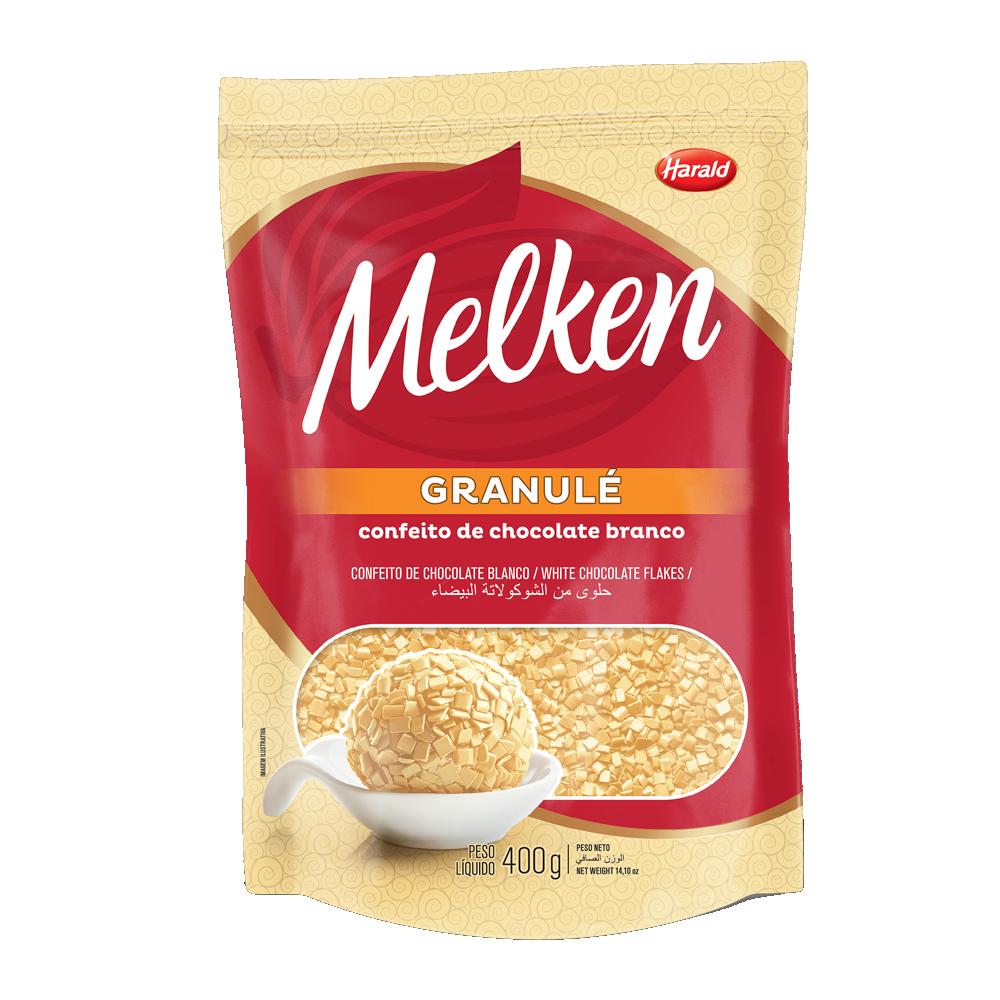 Confeitos chocolate branco granulè 400g Melken/Harald pacote PCT