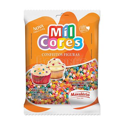 Confeitos estrelinha 250g Mil Cores/Mavalerio pacote PCT