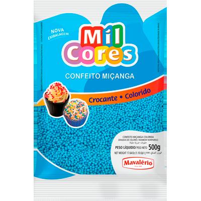 Confeitos miçanga azul pacote 500g Mil Cores/Mavalerio PCT
