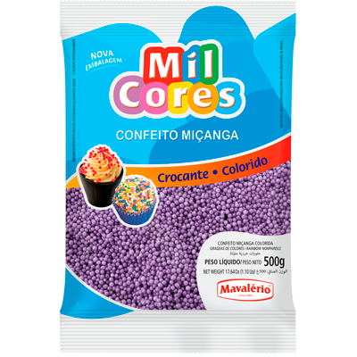 Confeitos miçanga lilás 500g Mil Cores/Mavalerio pacote PCT