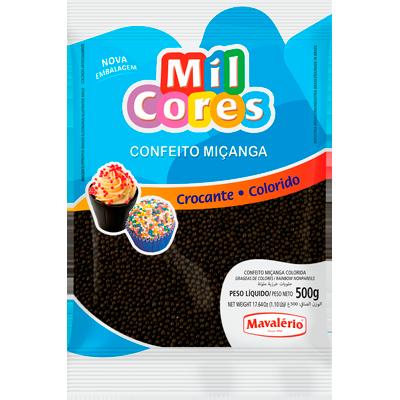 Confeitos miçanga preto 500g Mil Cores/Mavalerio pacote PCT