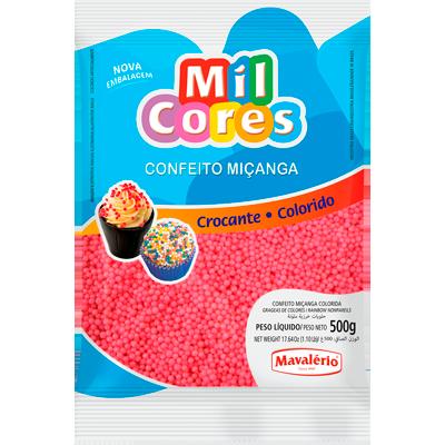 Confeitos miçanga rosa pacote 500g Mil Cores/Mavalerio PCT